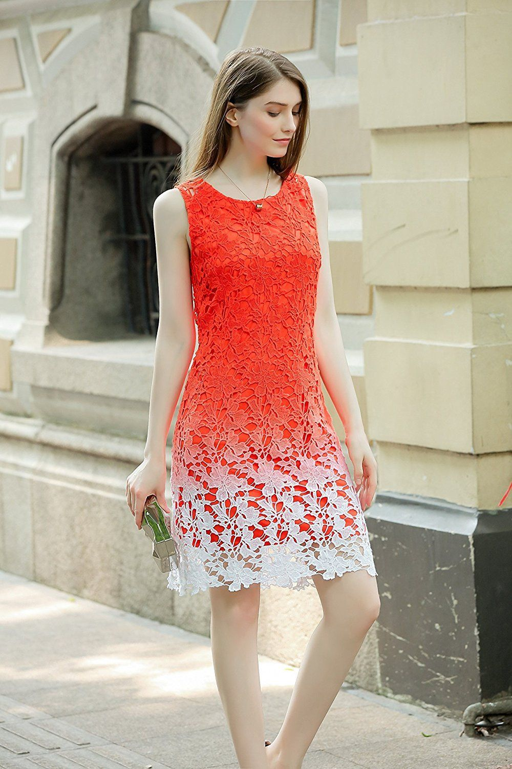 5240a0b3af UP Ultrapink Missy Womens Ombre Crochet Scallop Hem Exposed Back Shift Dress  Fit Occasion
