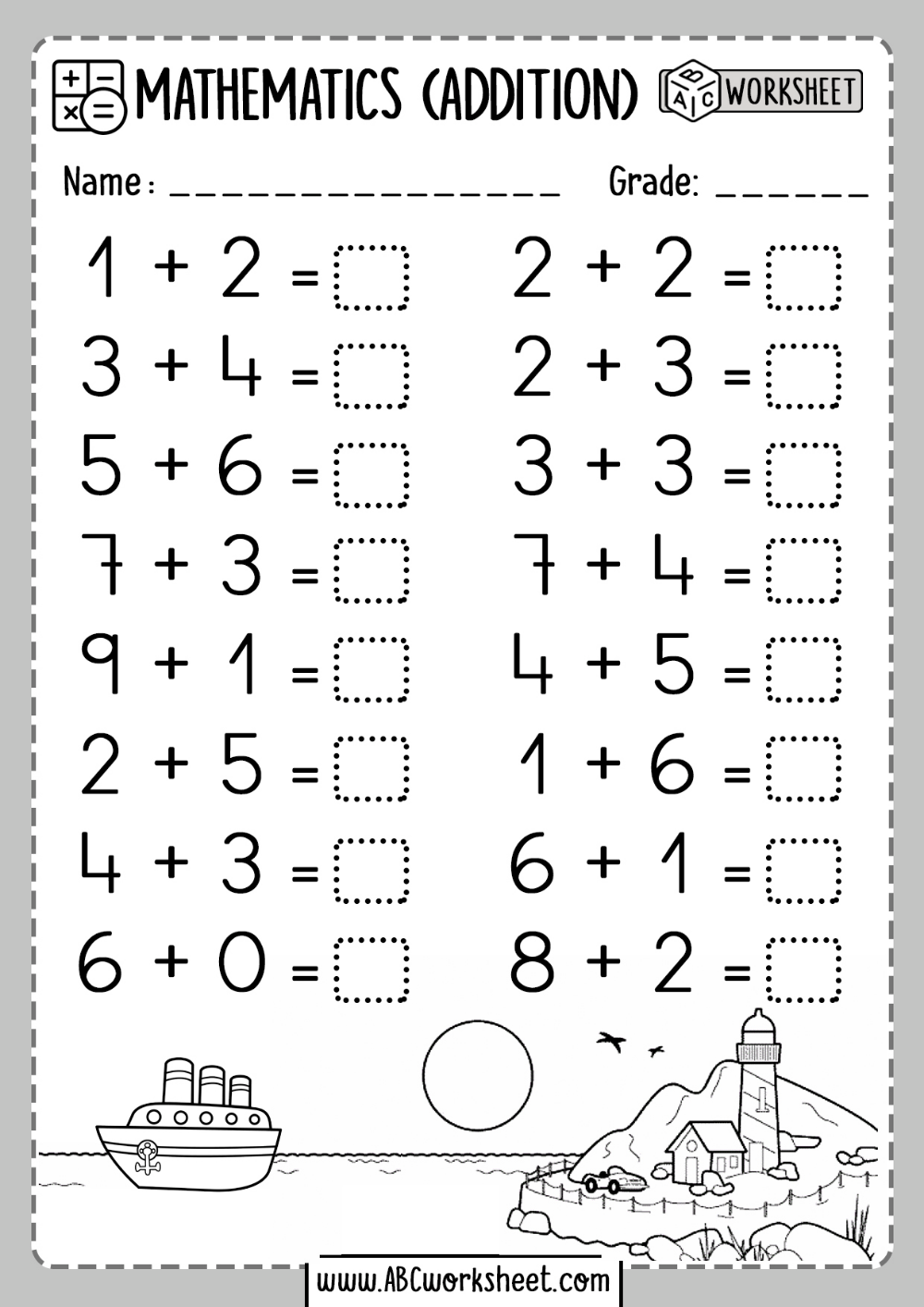 One 1 Digit Addition Worksheets   Kindergarten addition worksheets [ 1414 x 1000 Pixel ]