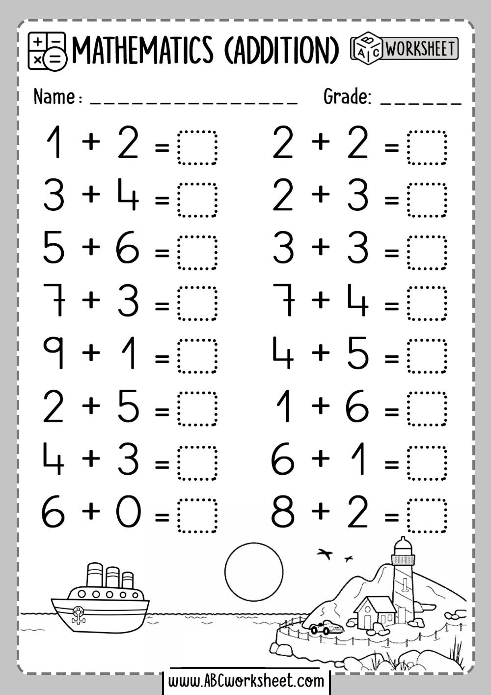 One 1 Digit Addition Worksheets Kindergarten Addition Worksheets Kindergarten Math Worksheets Addition Addition Kindergarten