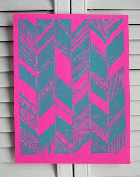 Pohoa Turquoise/Neon Pink Print by SchatziBrown on Etsy @Tanya Brown ...