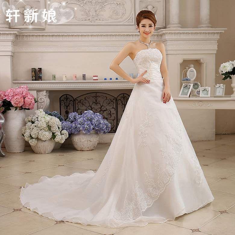 Custom Made Wedding Dresses With Long Train 2015 Elegant Backless Bridal Dress Plus Size Lace