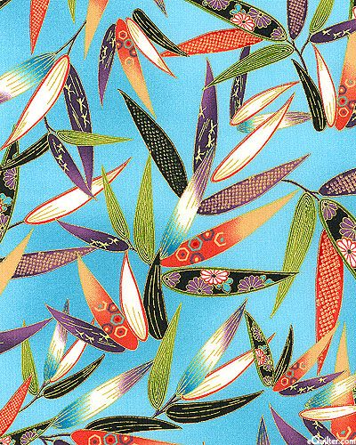Satsuki - Embroidered Bamboo - Sky Blue/Gold