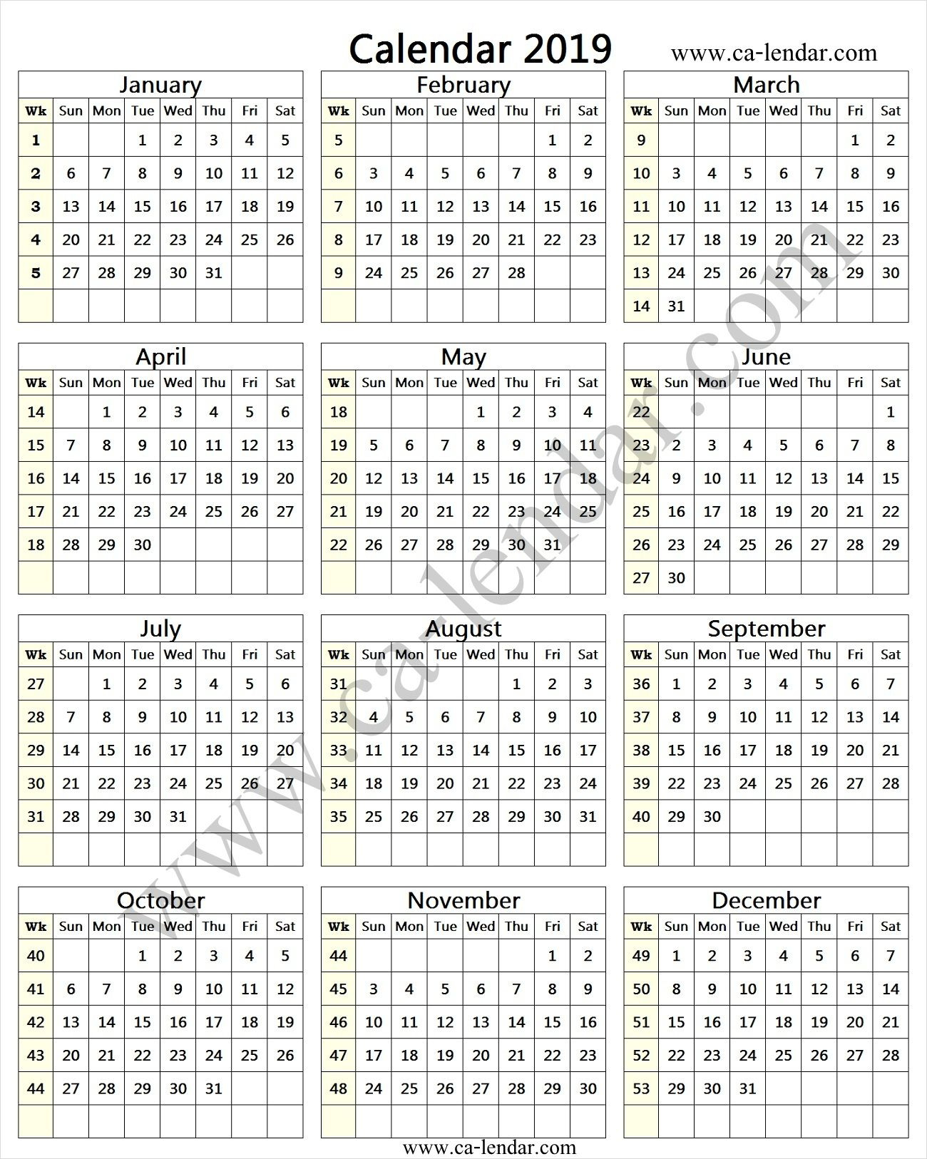2019 Calendar With Week Numbers Printable 2019 Calendar Week Number