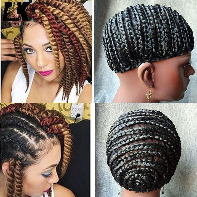 2pcs Hot Sale Braid Synthetic Wig Cap Cornrow Brading Wig Crochet
