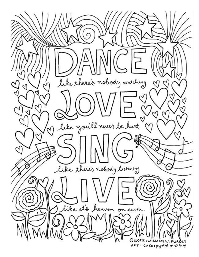 12 Inspiring Quote Coloring Pages for Adultsu2013Free Printables Dance - best of dr seuss quotes coloring pages