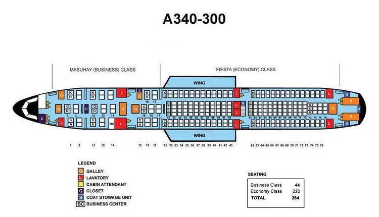 Philippine Airlines Airbus A340 300 Aircraft Seating Chart Airline