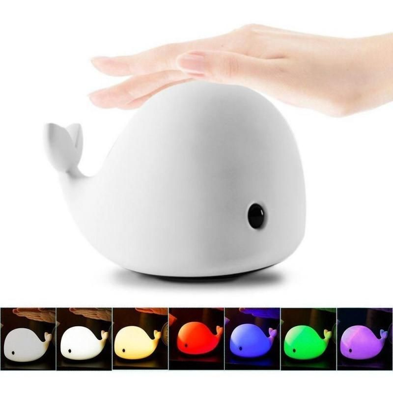 Cute Baby Whale Night Light Rechargeable Multicolored Led