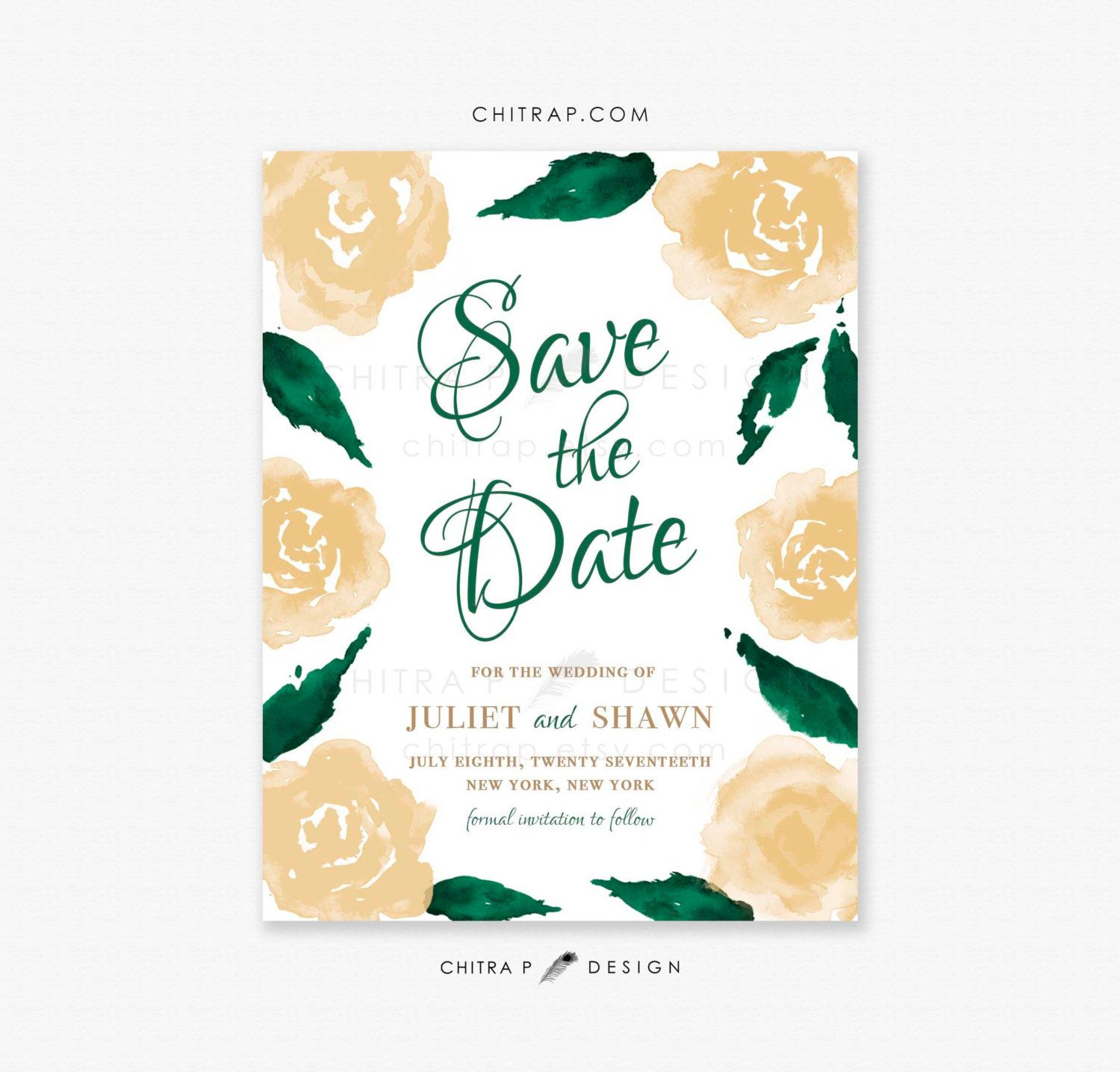 Green & Gold Save the Date Cards - Printed, White Watercolor Irish ...