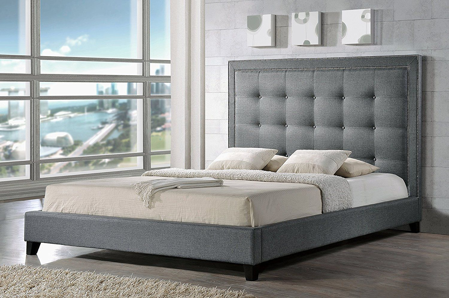 Amazoncom Baxton Studio Hirst Platform Bed King Gray Kitchen