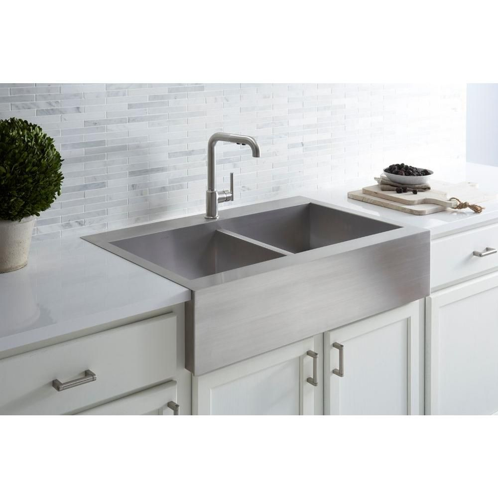 Kohler Vault Farmhouse Drop In Apron Front Self Trimming Stainless Steel 36 In 1 Hole Double Bowl Kitchen Sink K 3944 1 Na The Home Depot Apron Sink Kitchen Farmhouse Sink Kitchen Single Bowl Kitchen Sink