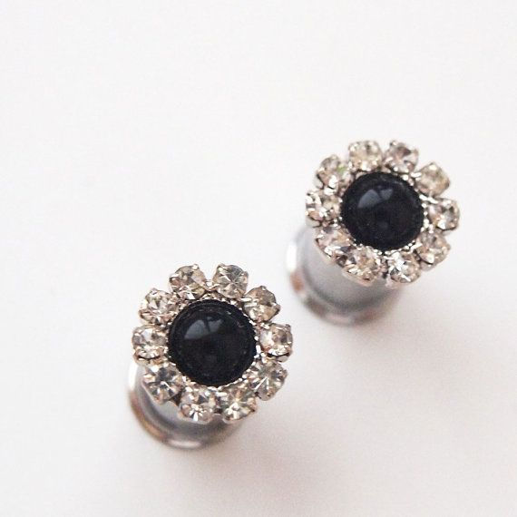 0g 8mm 2g 6mm Black Pearl  Rhinestone 316L Surgical by Glamsquared, 22.50