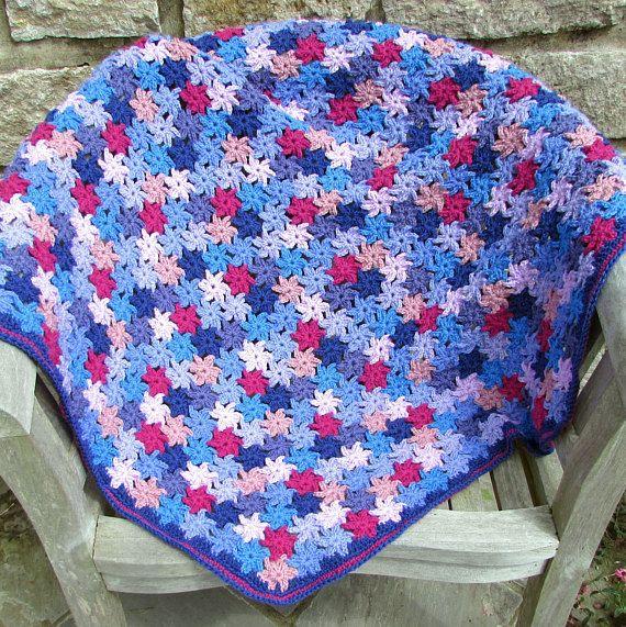 Crochet blanket kit - crochet flower - crochet throw - crochet ...
