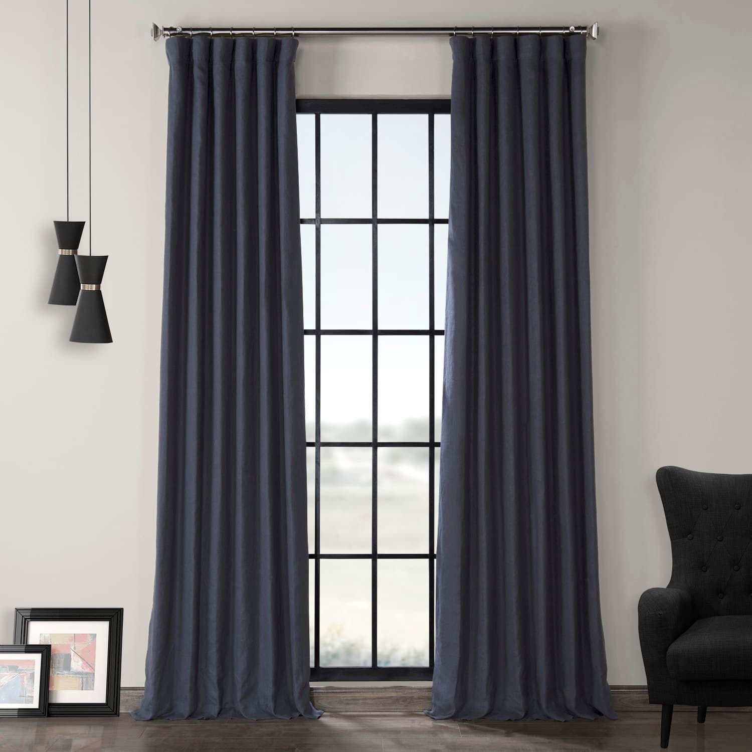 True Navy French Linen Curtain Linen Curtains Blue Blackout Curtains Panel Curtains