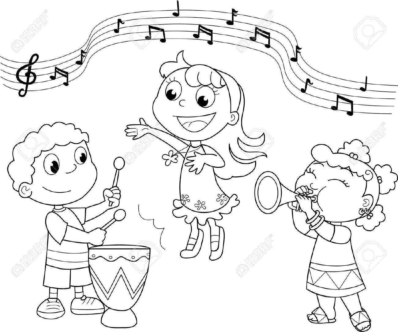 musikband kinder spielen und singen schwarzweiss