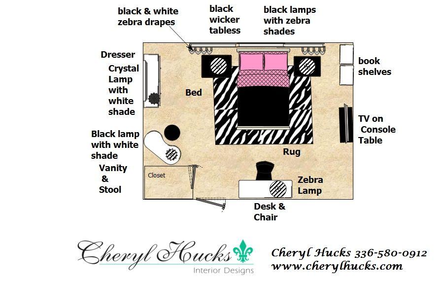 Teenage Girl's Bedroom Floorplan Cheryl Hucks Interior Designs