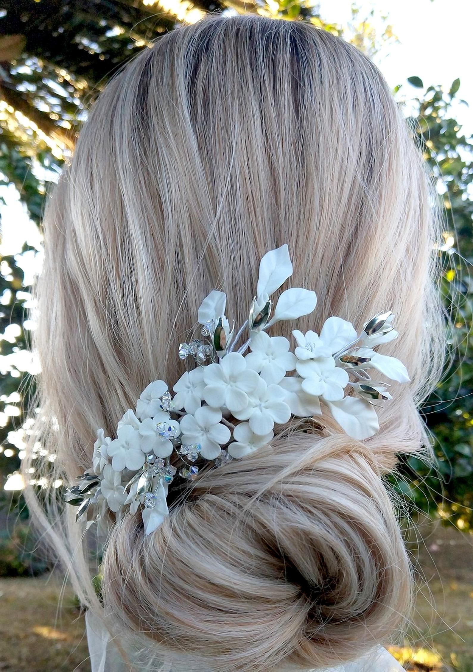 Wedding headdress with white flowers Bridal tiara in cold porcelain Handmade White and silver headpiece Romantic bride