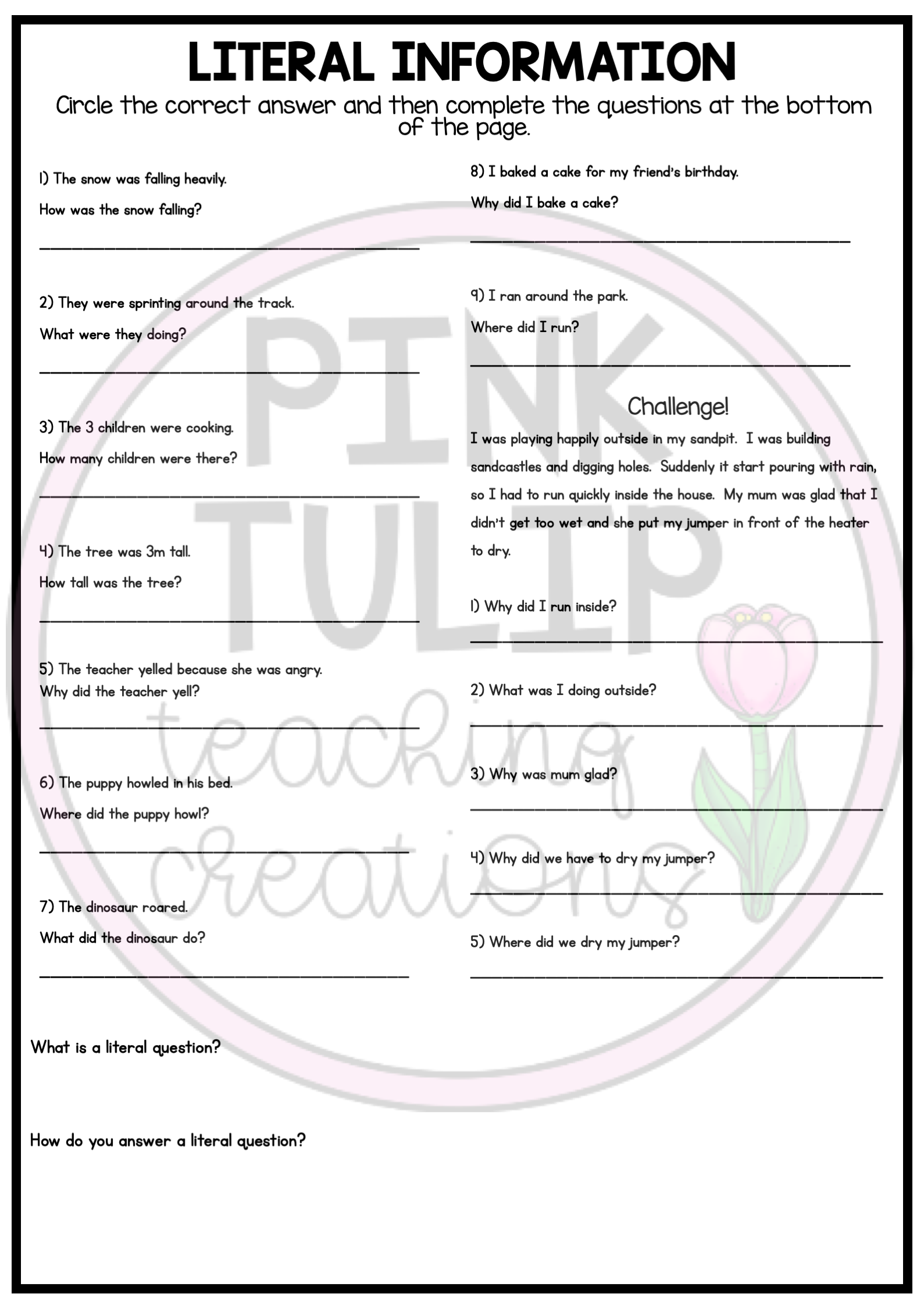 Implied Vs Literal Questions Worksheets With Answers Reading Comprehension Resources This Or That Questions Reading Classroom [ 2249 x 1589 Pixel ]