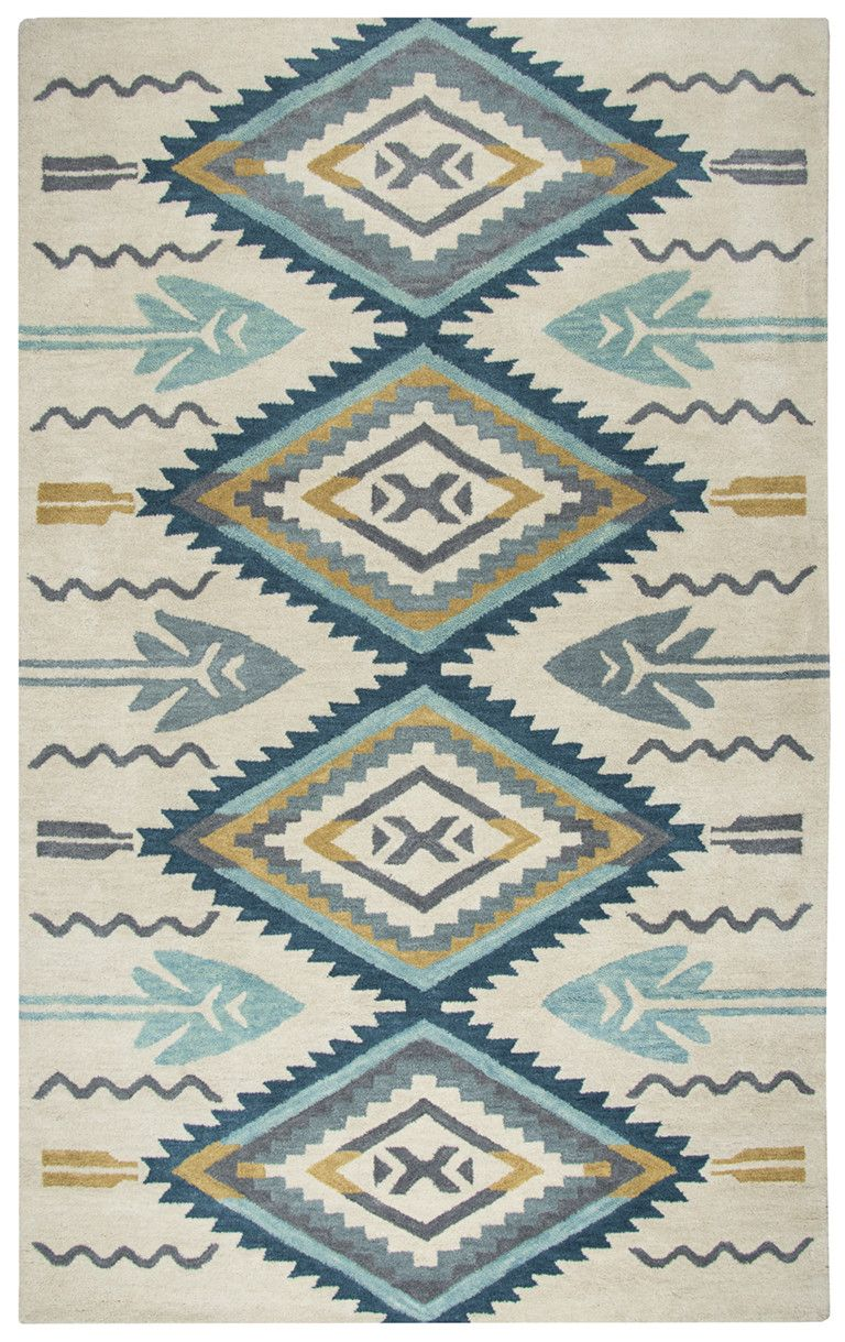 Rizzy home southwest indoor area rug the rizzy home southwest indoor area rug adds a pop of color with its blue and yellow geometric design