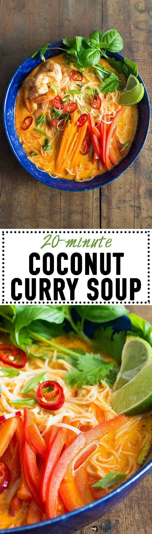 An incredibly flavourful Coconut Curry Soup prepared in 20 minutes! Rice Noodles, shrimps and veggies in a delicious broth with thai curry and coconut milk! via @greenhealthycoo incredibly flavourful Coconut Curry Soup prepared in 20 minutes! Rice Noodles, shrimps and veggies in a delicious broth with thai curry and coconut milk! via @greenhealthycoo