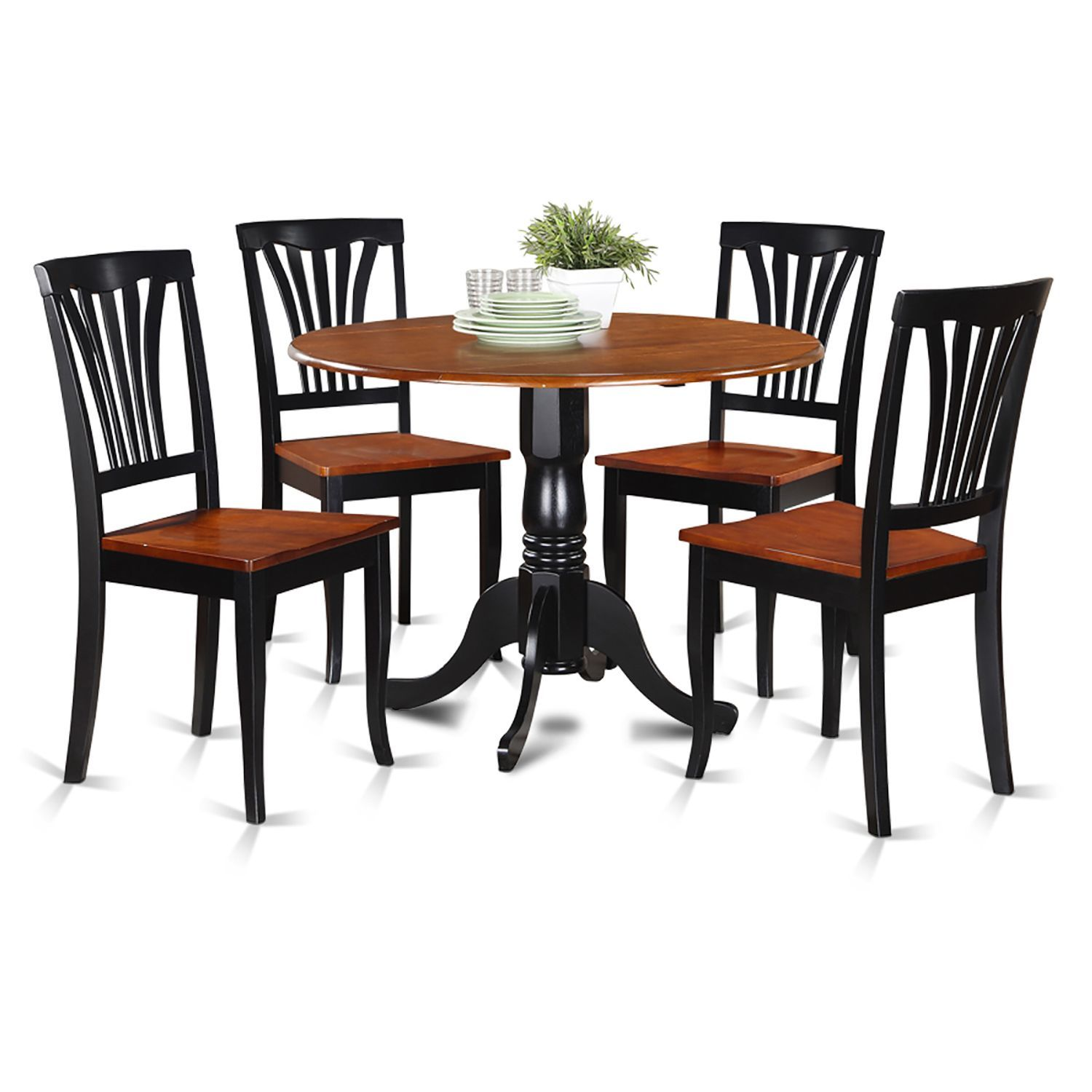 Gorgeous Drop Leaf Dinette Set Shows The Pure Attractiveness Of Asian Wood Finished In Two Colors Black And Cherry That Brings Up Sophistication