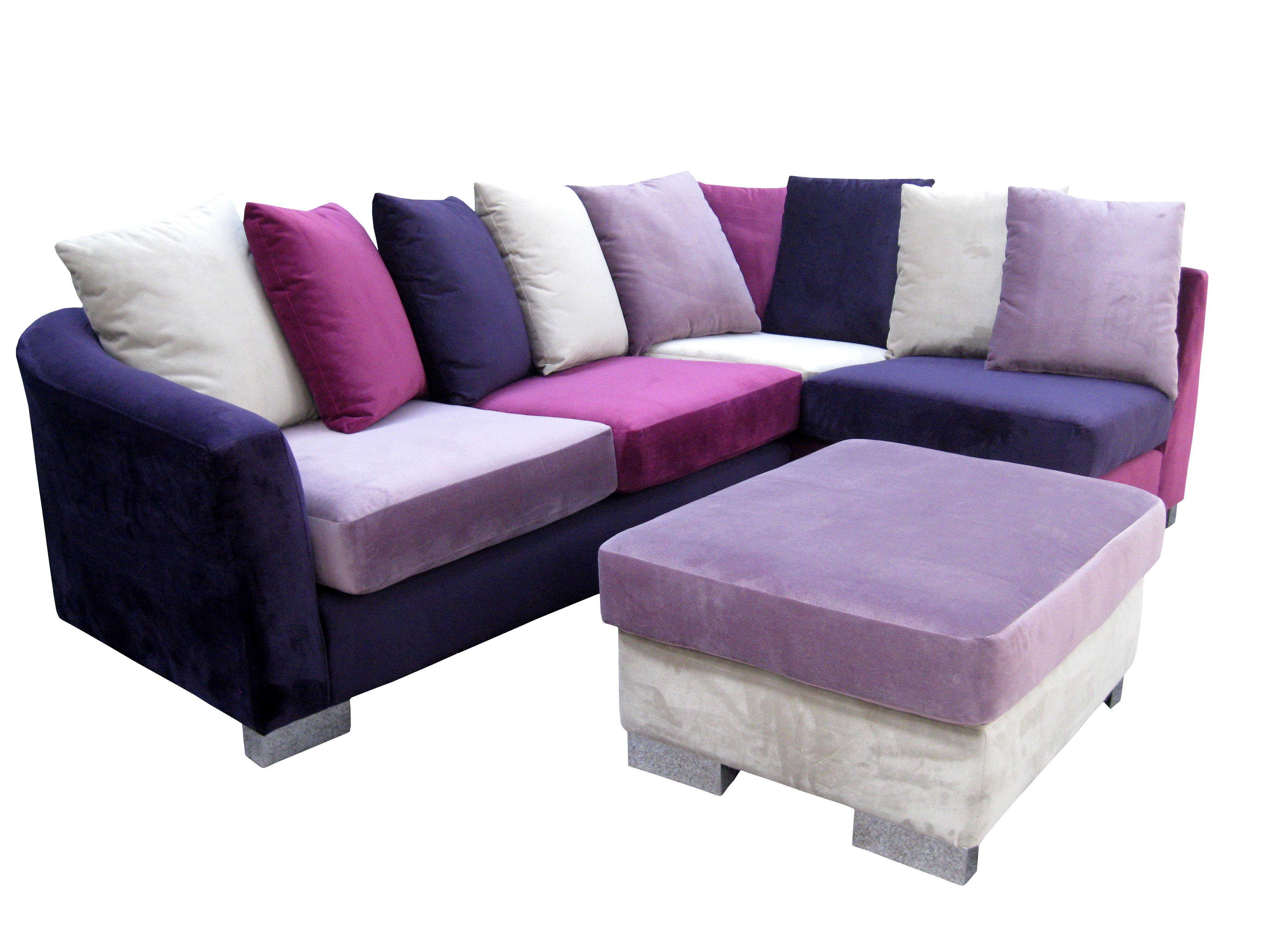 purple corner sofa bed australian made beds adelaide multi coloured zara and footstool