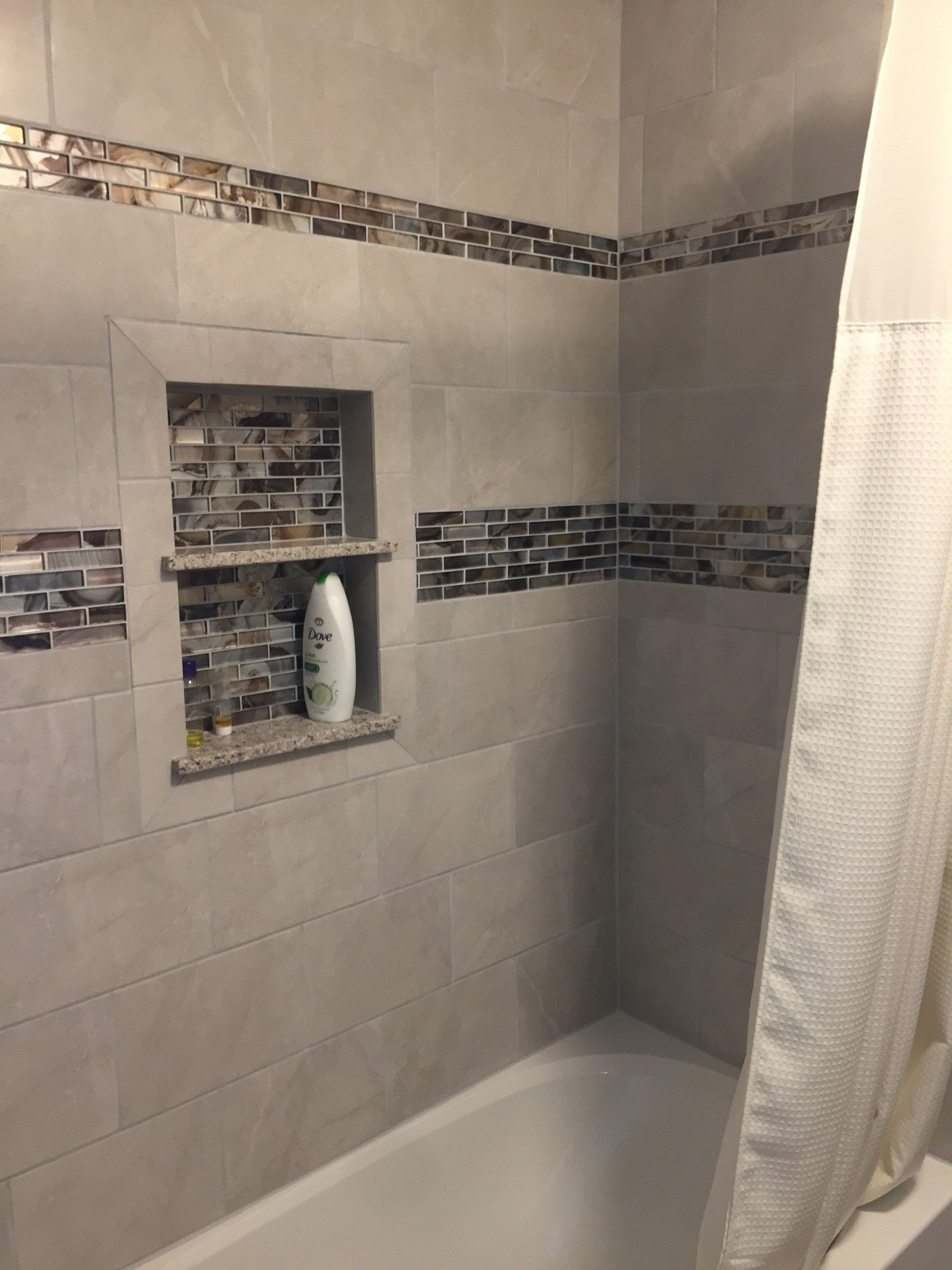 Shower Tile Mosaic Linear Mosaic Accent Tile Custom Tile Shower Niche Niche Shelves Shower Storage Bathroom Storage Bath Tub Tile Sho With Images Tile Shower Niche
