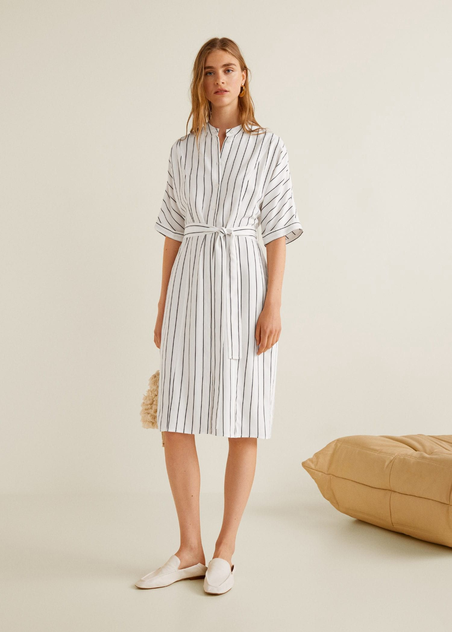 51b36c81adbc Mango Striped Shirt Dress - Off White 2 in 2019 | Products | Striped ...
