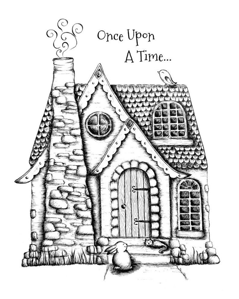 Storybook House Once Upon A Time Print Cat Rabbit Bird Black And White Ink Art Print In 2020 Disney Castle Drawing Ink Art House Drawing