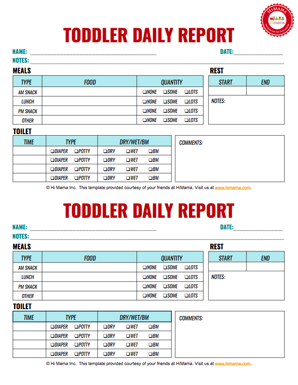 Toddler Daily Report  Per Page  Infant Toddler  Preschool
