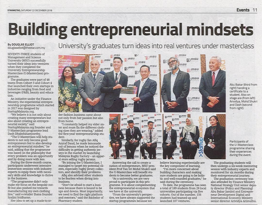 73 Students Of Msu Successfully Turned Their Ideas Into Ventures
