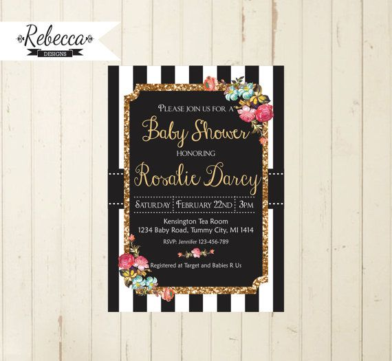 baby shower invitation black and white baby by RebeccaDesigns22