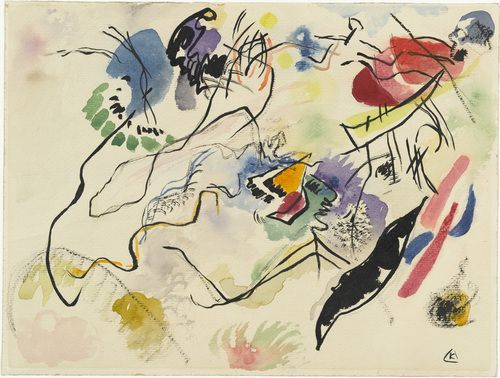 Watercolor No. 14 (Aquarell No. 14), 1913 // Vasily Kandinsky (French, born Russia. 1866–1944) // #art #painting #abstract