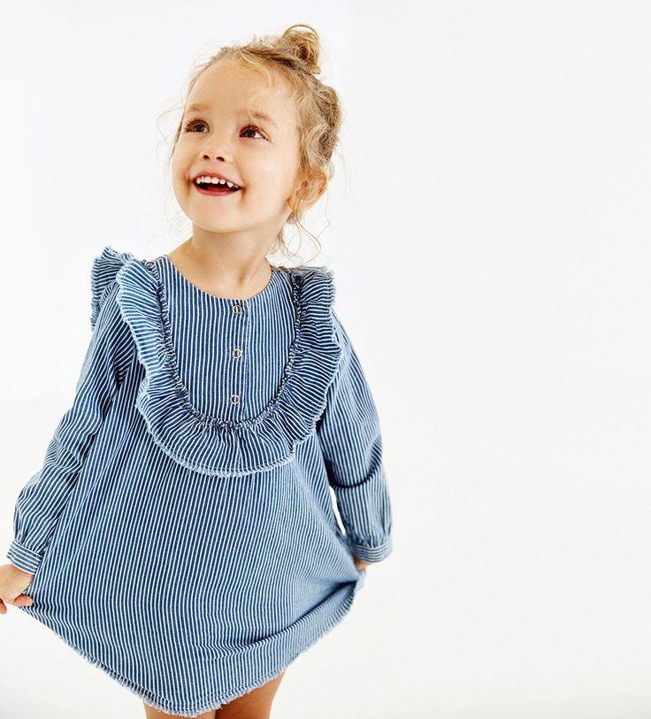 KLEID MIT STREIFEN UND VOLANT-KLEIDER-BABY MADCHEN   3 Monate bis 4 ...