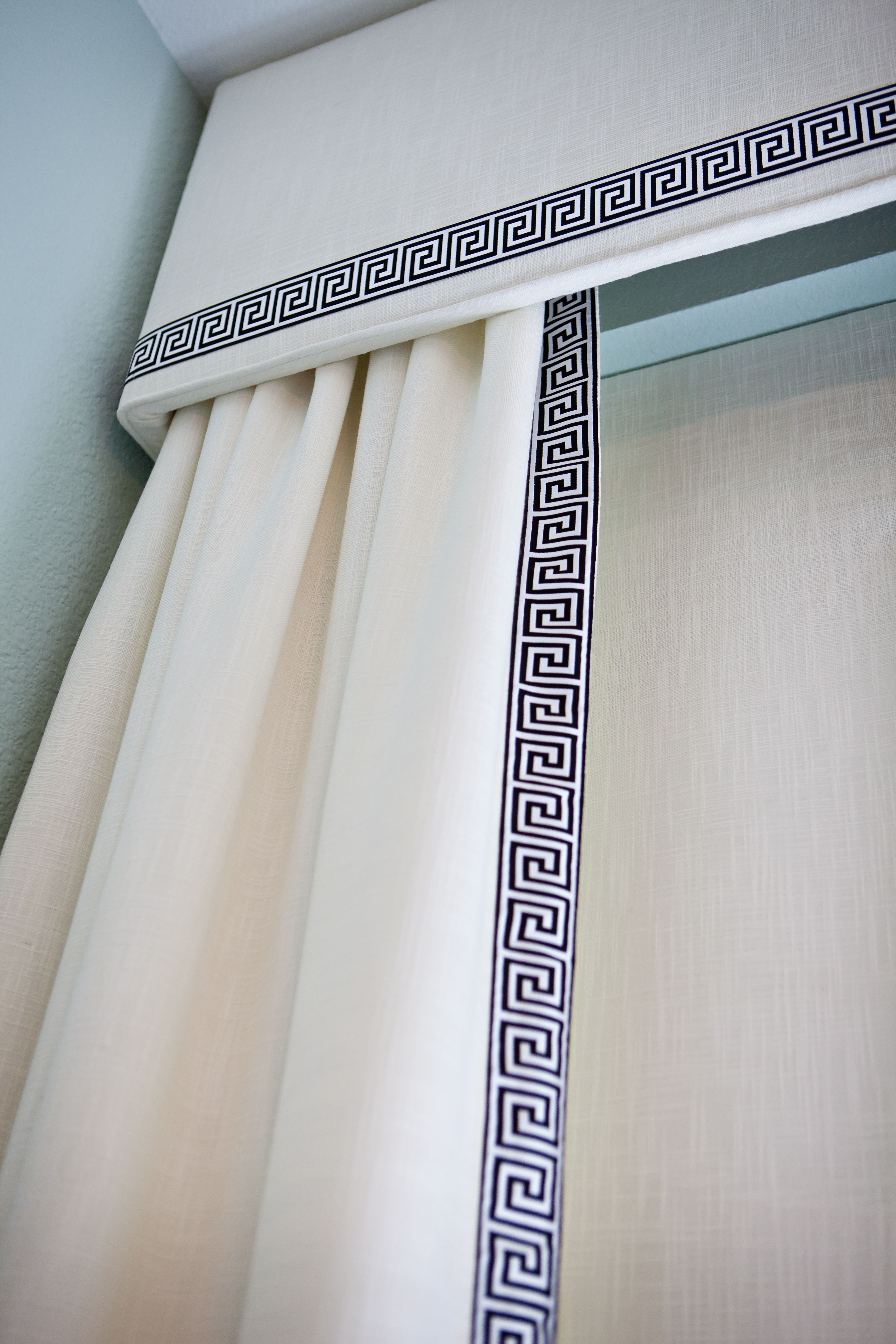 showcase made valance rooms look glass cornices and adjoining treatment these to feel sliding arched for matching over custom kitchen valances in window portfolio with residential compliment of treatments the door
