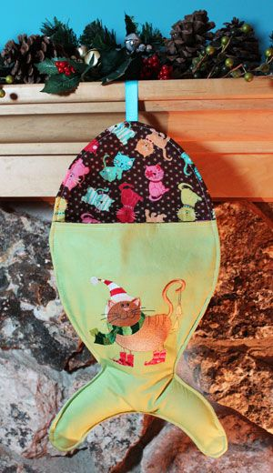Free project instructions to make a fish-shaped Christmas stocking ...