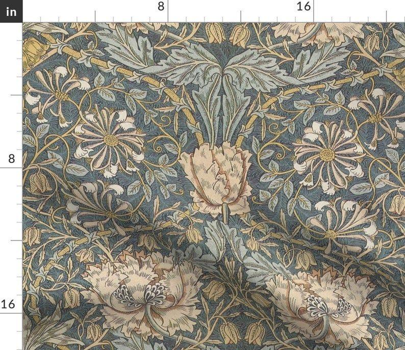 Damask Duvet Cover Morris Inspired Honeysuckle By Etsy In 2021 William Morris Damask Duvet Covers Damask Curtains