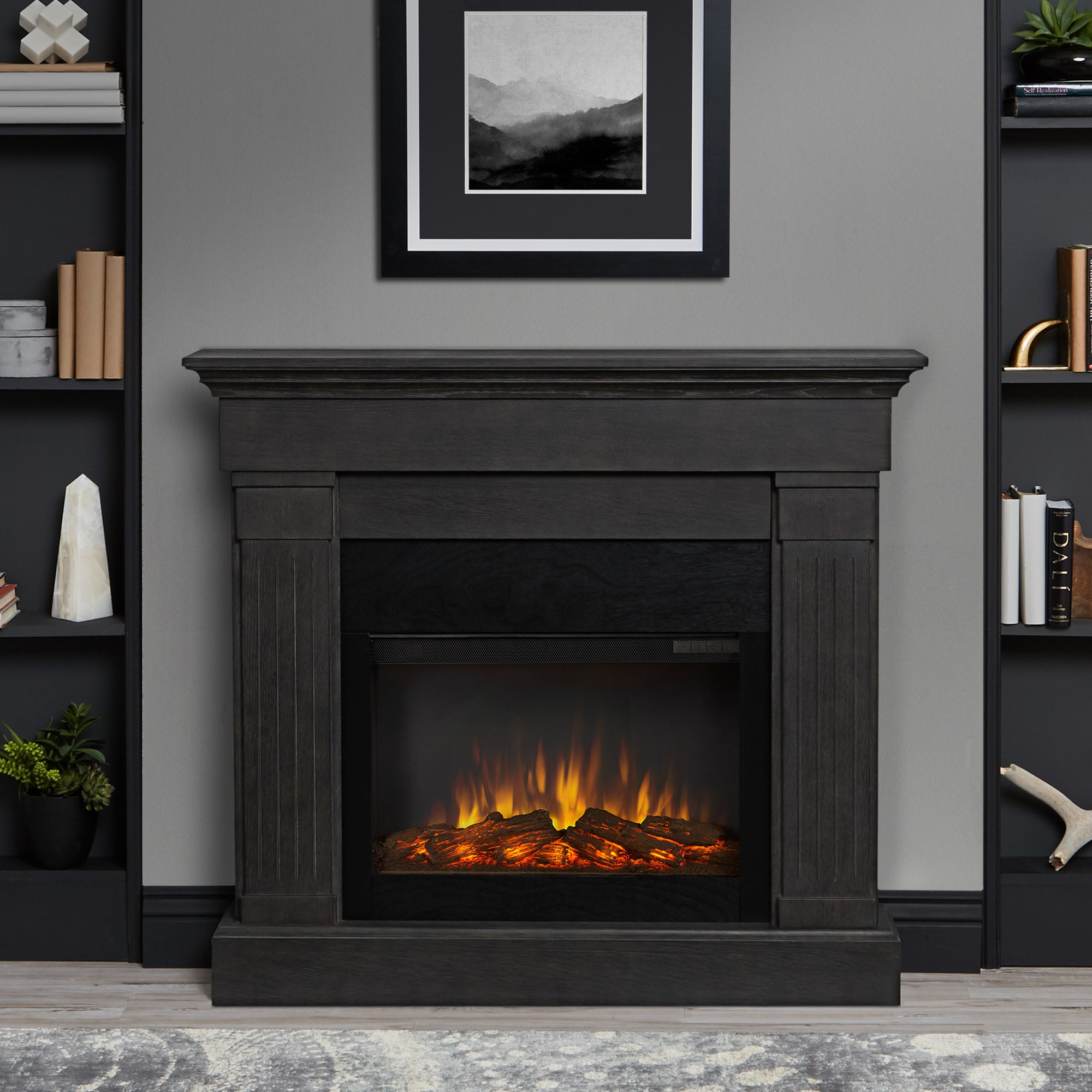 Real Flame Crawford Indoor Electric Fireplace Gray Chestnut Oak