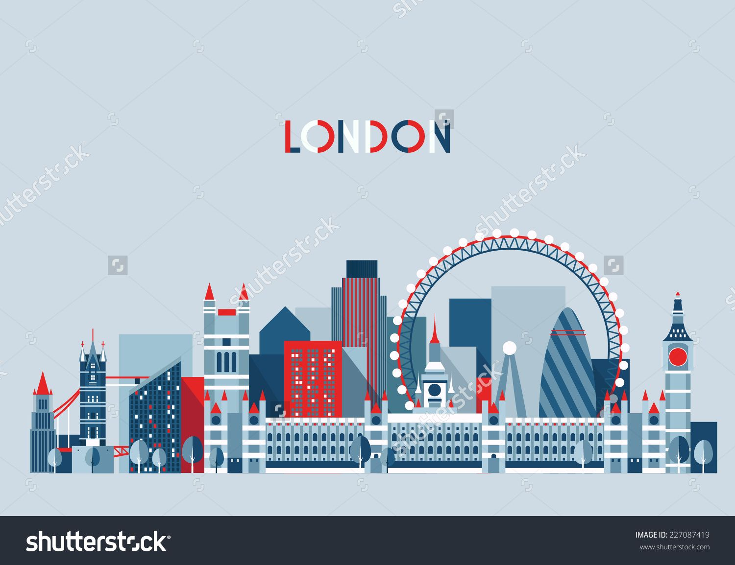 London england city skyline vector background flat trendy london england city skyline vector background flat trendy illustration altavistaventures Image collections