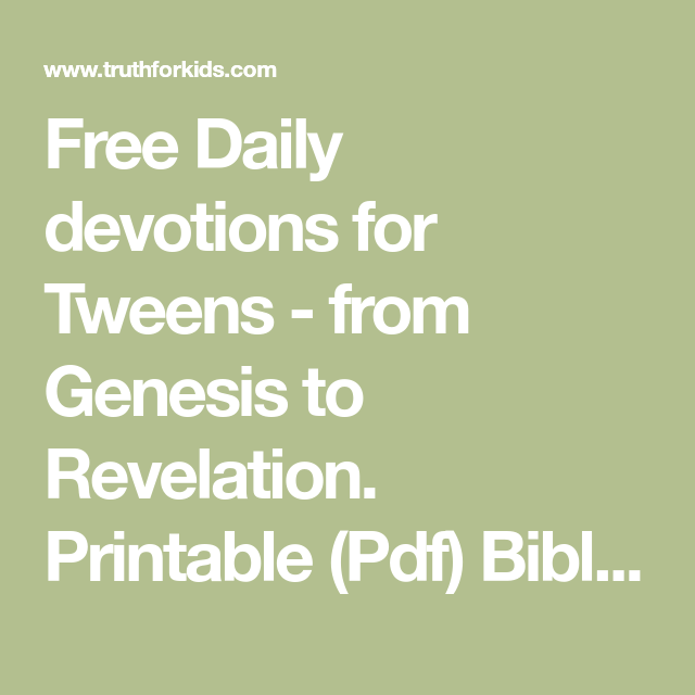 This is a photo of Unusual Printable Devotions for Tweens