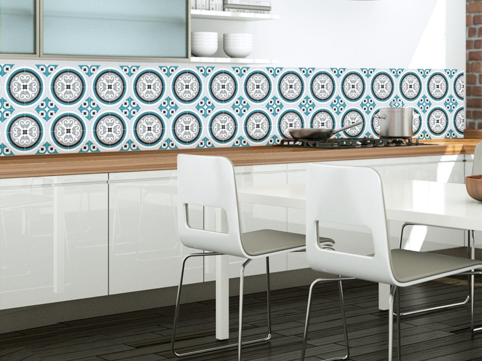 ROSACE BLEU PAON Crédence Adhésive Imperméabilisée Paon - Carrelage bleu canard pour idees de deco de cuisine