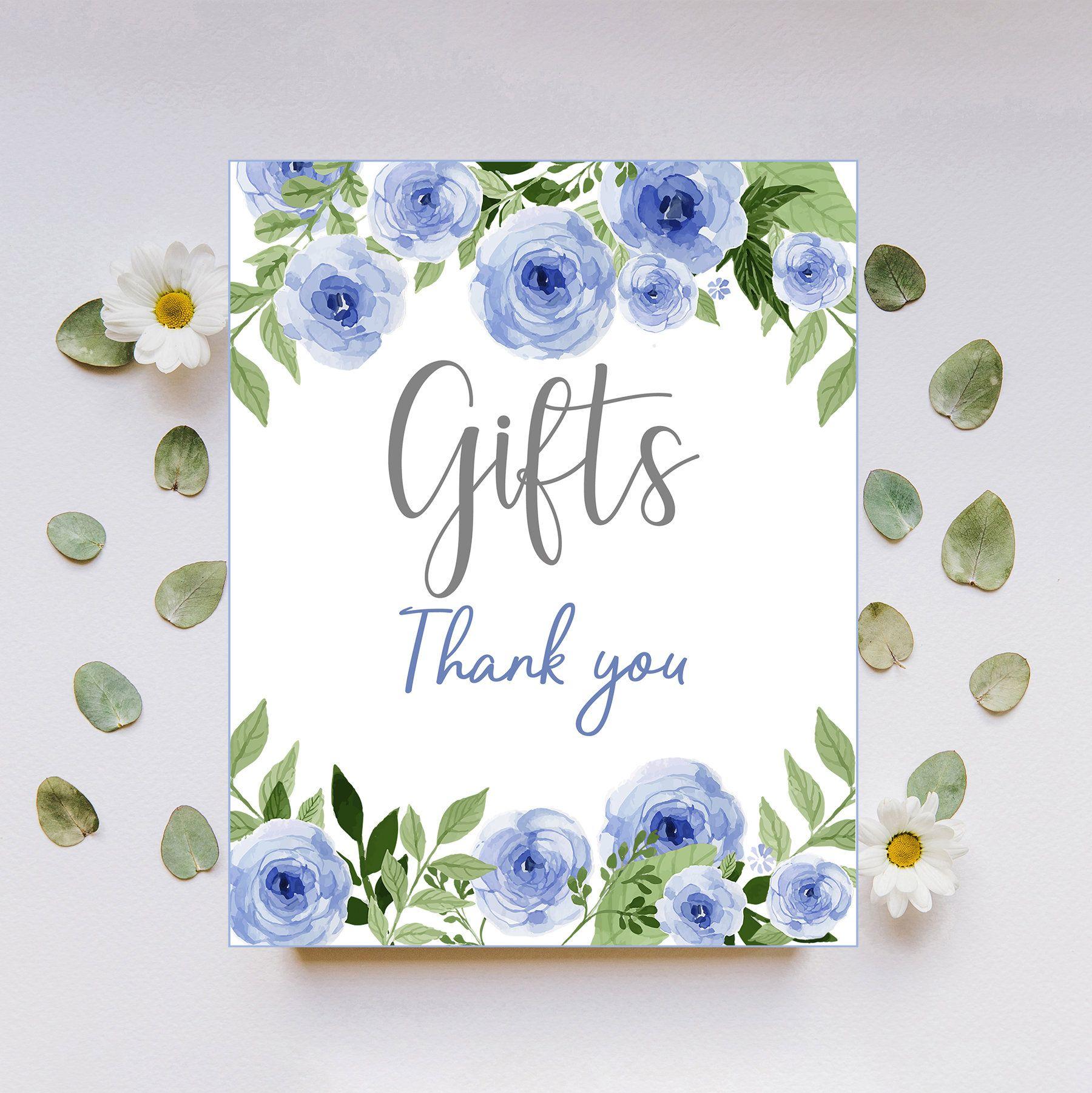 blue floral gifts sign digital download baby shower sign rh pinterest com