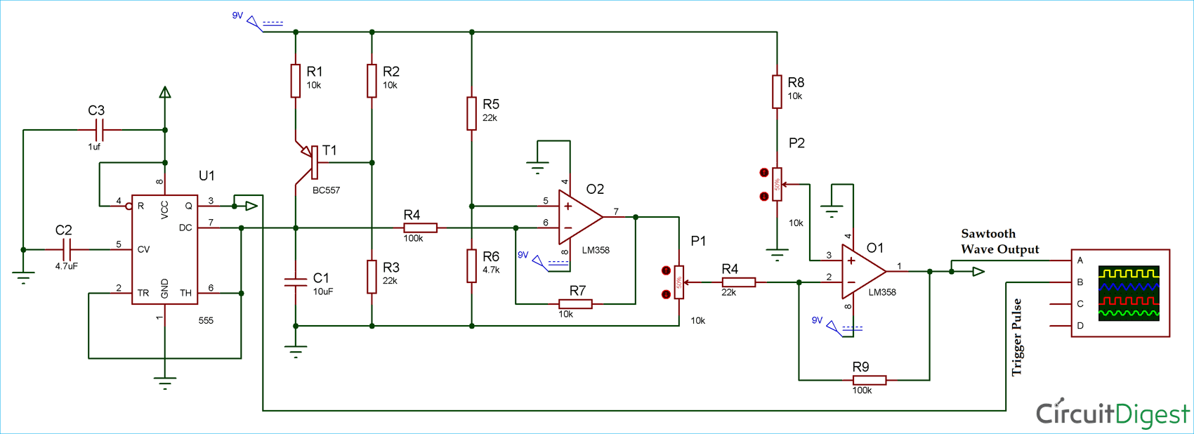 Sawtooth Waveform Generator Circuit Diagram Electronic Ldr Circuits And Diagramelectronics Projects