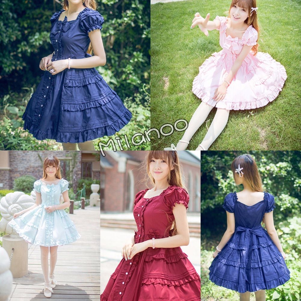 Which color is your favorite?  Classical Lolita OP dress, with layered ruffles