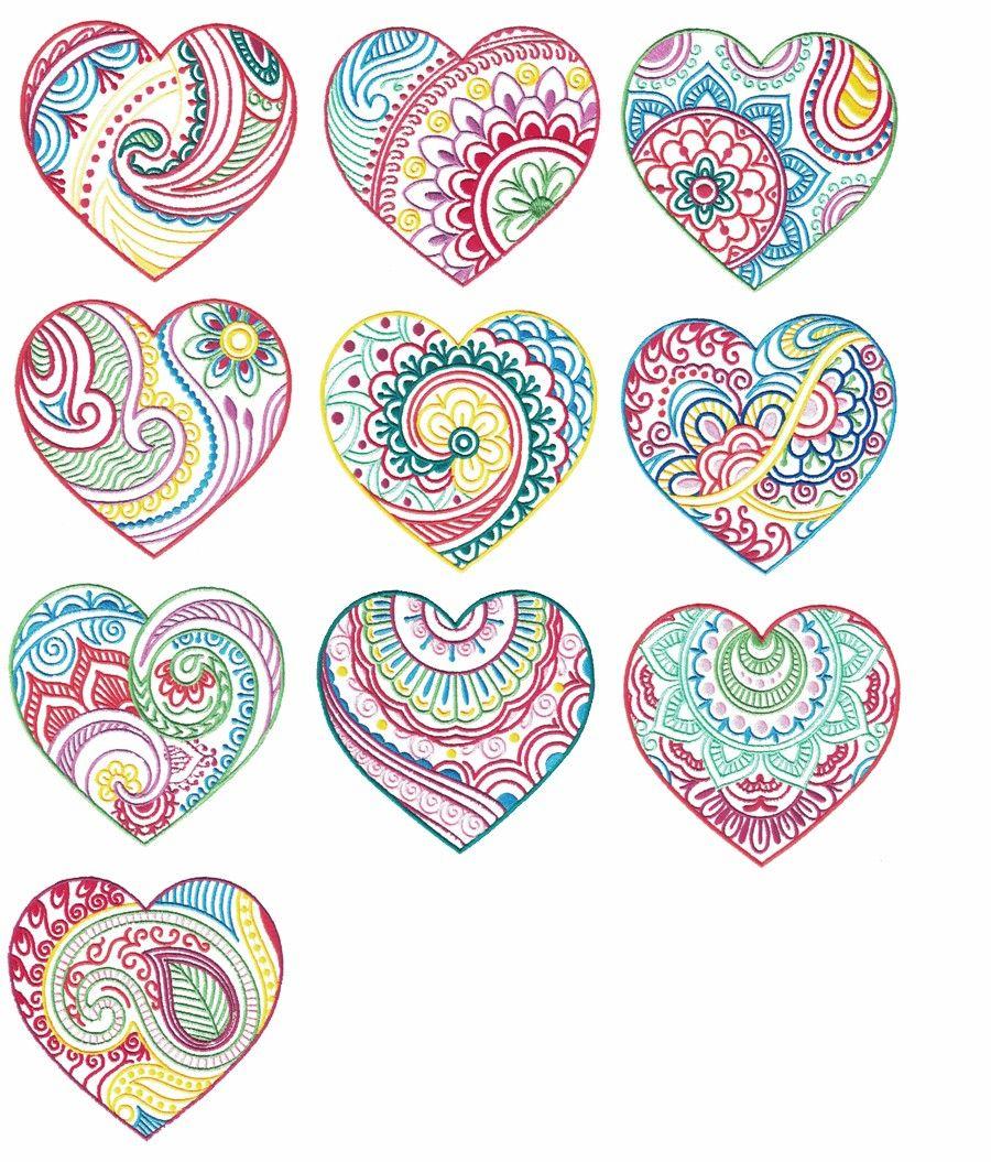 Mehndi Henna Embroidery Hearts Designs By Juju Machine Embroidery