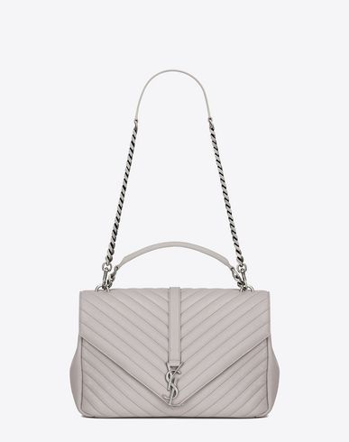 8fa826c1b6ed SAINT LAURENT CLASSIC LARGE MONOGRAM SAINT LAURENT COLLÈGE BAG IN LIGHT  GREY MATELASSÉ LEATHER