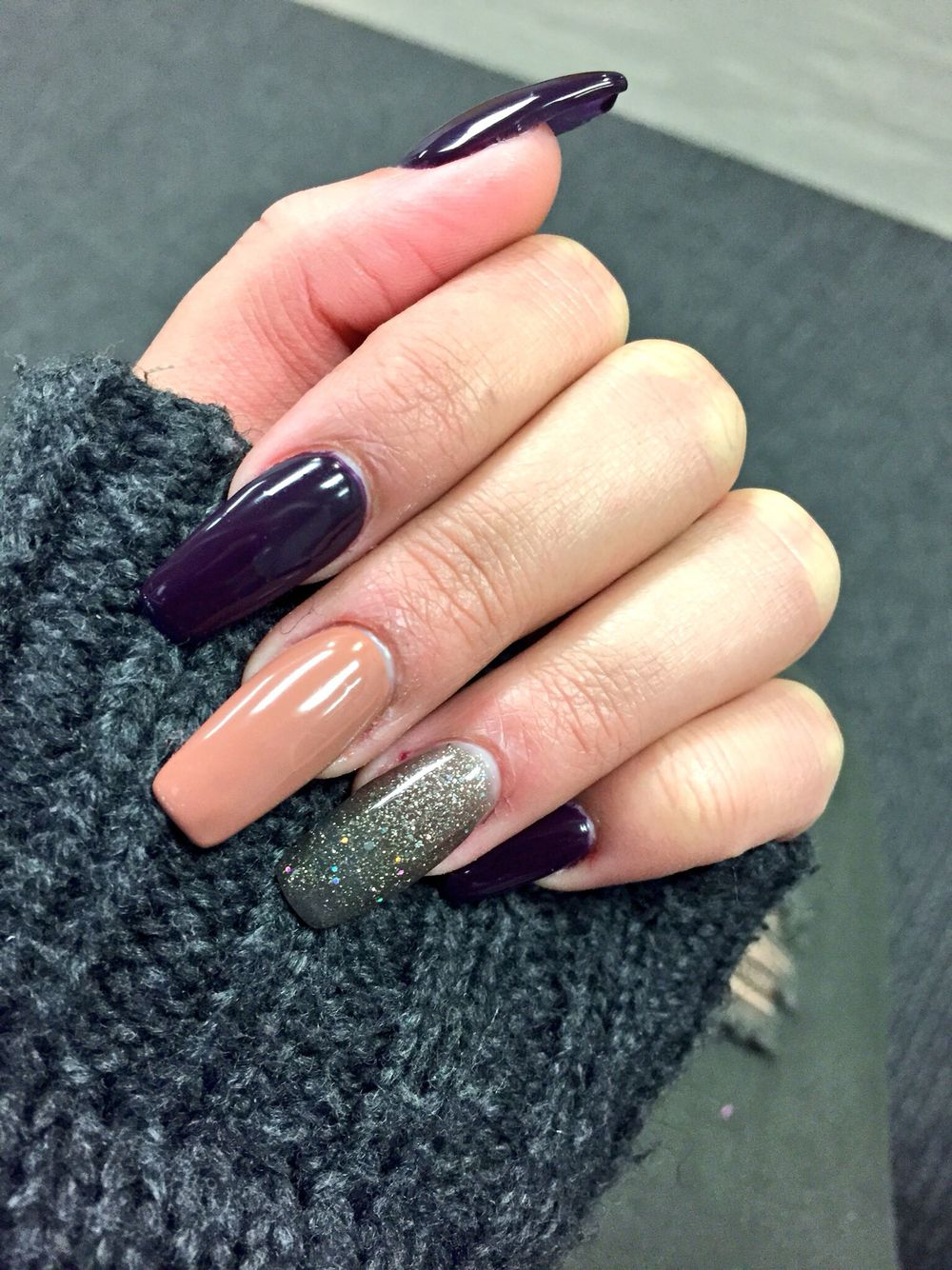 Dark purple, glitter and nude acrylic nails ✨ The perfect mix ...