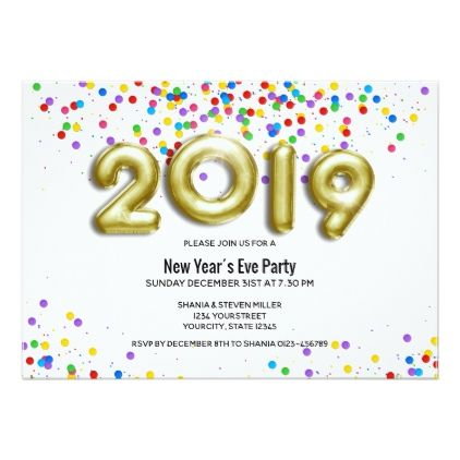 Gold Balloon Confetti 2019 New Year Invitation New Years Day