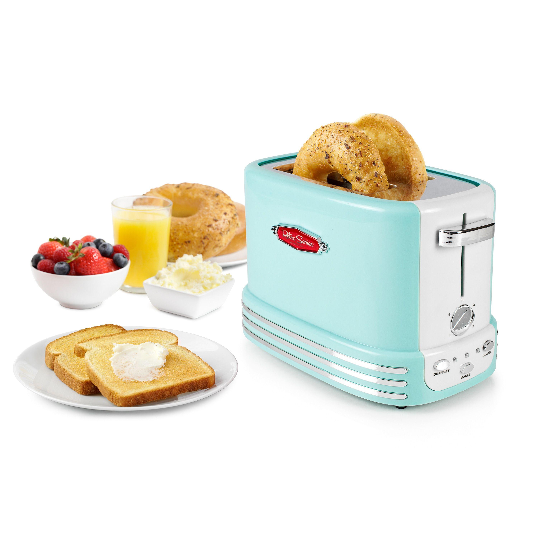 Nostalgia RTOS200AQ Retro Series 2-Slice Bagel Toaster (Aqua Blue ...