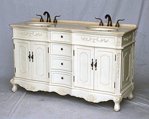 60 Inch Antique Style Double Sink Bathroom Vanity Model 1905 60