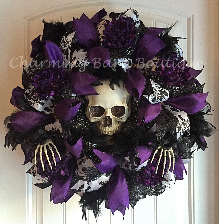 Halloween Wreath, Skull Wreath, Skeleton Wreath, Light Up